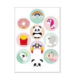Stickers kawaii mix regenboog