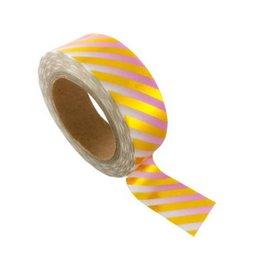 washi tape roze / wit / goud stripes