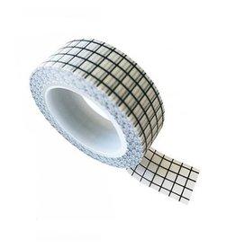 washi tape wit / zwart grid
