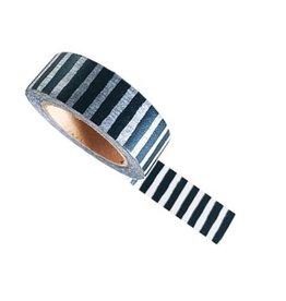 washi tape wit / zwart stripes