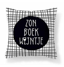 Buitenkussen Zon, boek, wijntje
