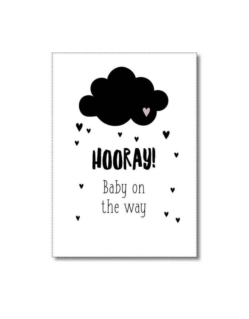Postkaart Hooray baby on the way
