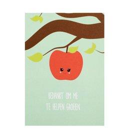 postkaart Bedankt om me te helpen groeien appel