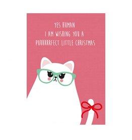 postkaart Kerst grumpy cat
