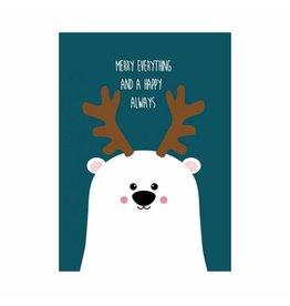 postkaart Kerst merry everything beer