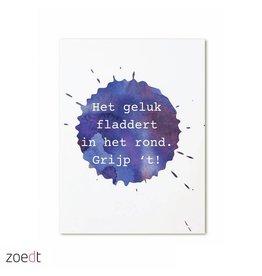 postkaart Het geluk fladdert in het rond