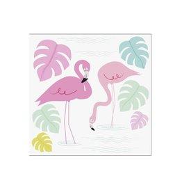 Kaartje met enveloppe flamingo