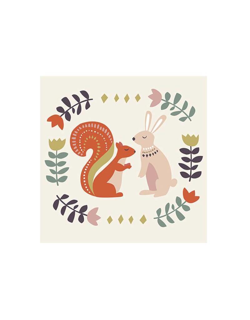 Kaartje met enveloppe konijntjes