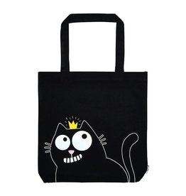 Canvas shopper kat zwart