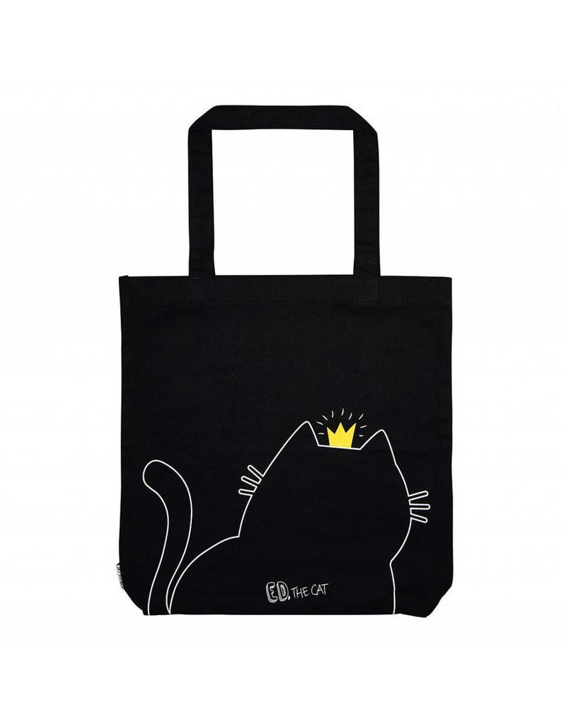 Canvas shopper kat zwart