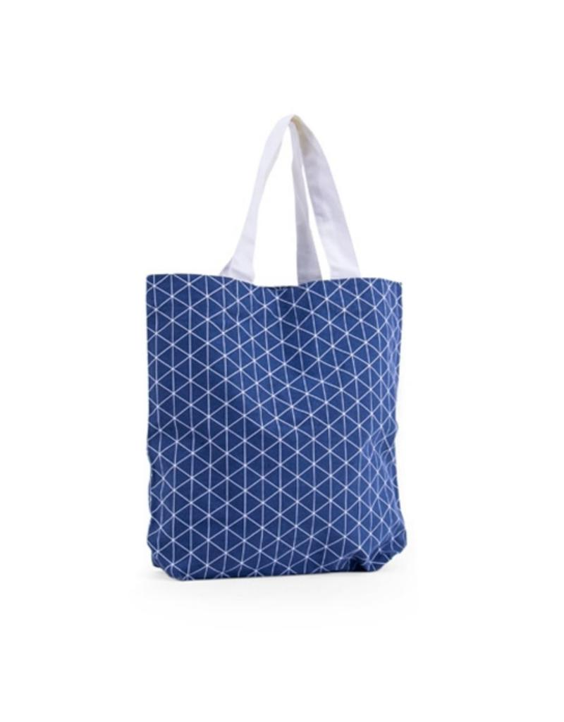 Shopper canvas triangle blauw