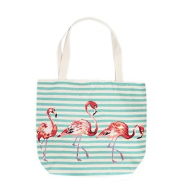 Shopper canvas flamingo turquoise