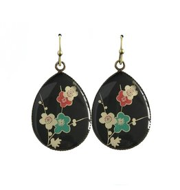 oorbEllen resin bloemen zwart