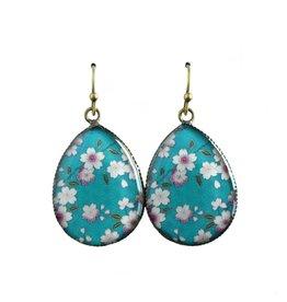 oorbEllen resin bloemen turquoise
