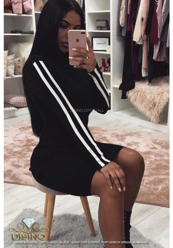 TWO STRIPES RIBBED COL DRESS
