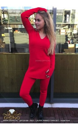 RED - 'LAURA' - PREMIUM RIBBED TWIN SET