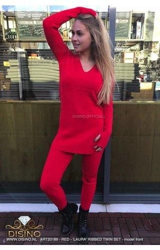 RED - 'LAURA' - PREMIUM RIBBED TWIN SET
