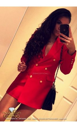 RED - 'KIMMY' - GOLD BUTTON BLAZER