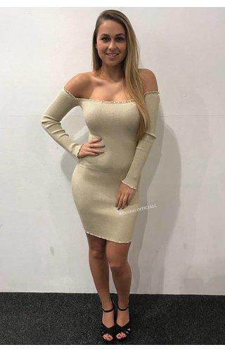 NUDE - 'LYA' SPARKLE BARDOT OFF SHOULDER MINI DRESS