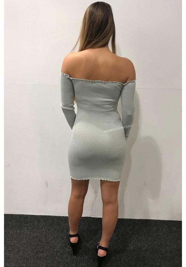SILVER - 'LYA' SPARKLE BARDOT OFF SHOULDER MINI DRESS