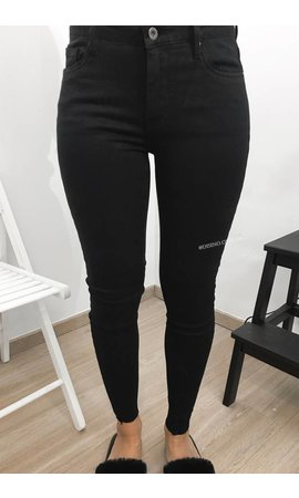 Queen Hearts QUEEN HEARTS JEANS - BLACK - SKINNY CROP FRAY HEM