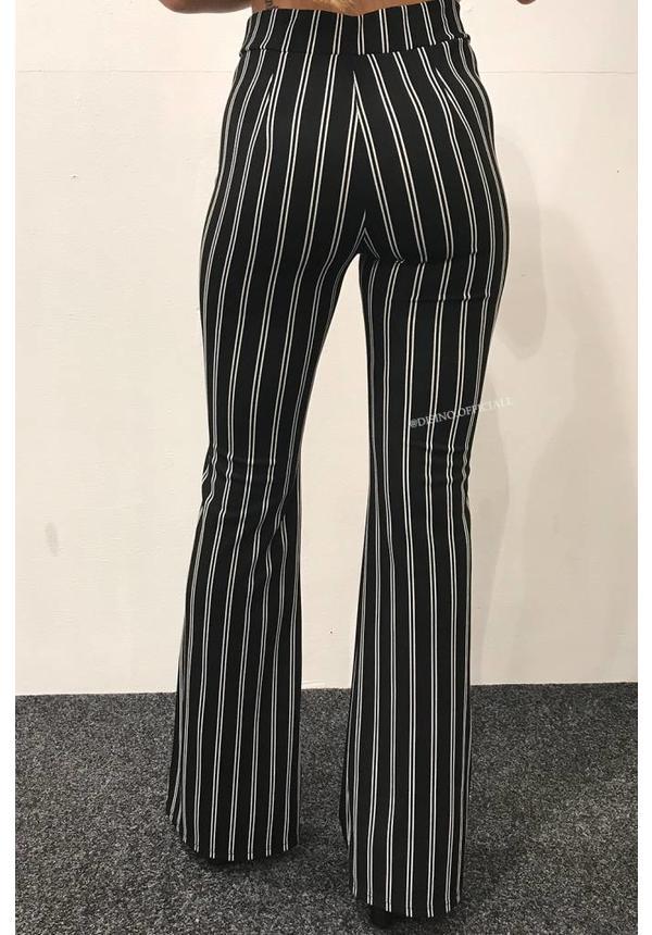 BLACK - 'JANNET' STRIPED FLARED PANTS