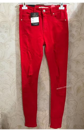 RED - RIPPED SKINNY JEANS