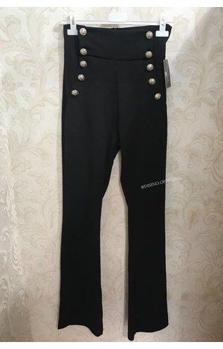 BLACK - 'JAYLIN' -  GOLDEN BUTTON PANTS