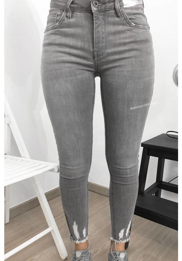 QUEEN HEARTS JEANS - GREY - SKINNY HIGH WAIST ANKLE ZIP