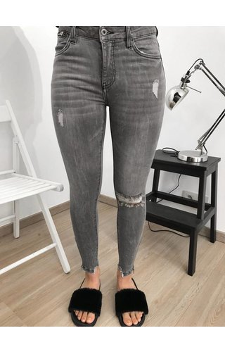 Queen Hearts QUEEN HEARTS JEANS - GREY - SKINNY RIPPED ANKLE ZIP