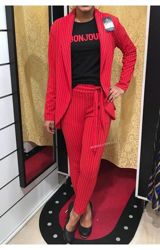 RED - 'NADELY' - STRIPED SUIT