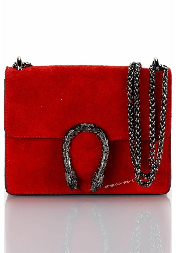 RED - SMALL - REAL SUEDE INSPIRED SNAKE BAG