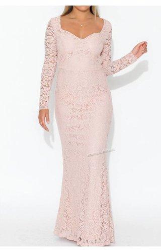 Lucy Wang NUDE - 'MERYAM' LACE MAXI DRESS