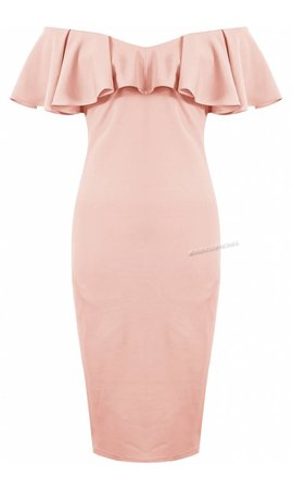 PINK - 'JAMIE' OFF SHOULDER MIDI DRESS