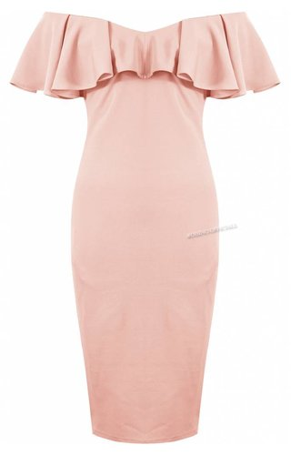 Lucy Wang PINK - 'JAMIE' OFF SHOULDER MIDI DRESS