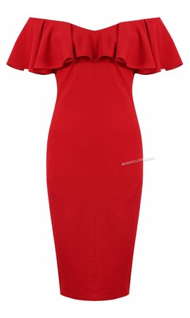 RED - 'JAMIE' OFF SHOULDER MIDI DRESS
