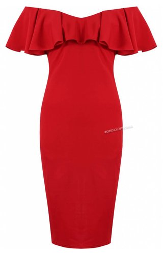Lucy Wang RED - 'JAMIE' OFF SHOULDER MIDI DRESS