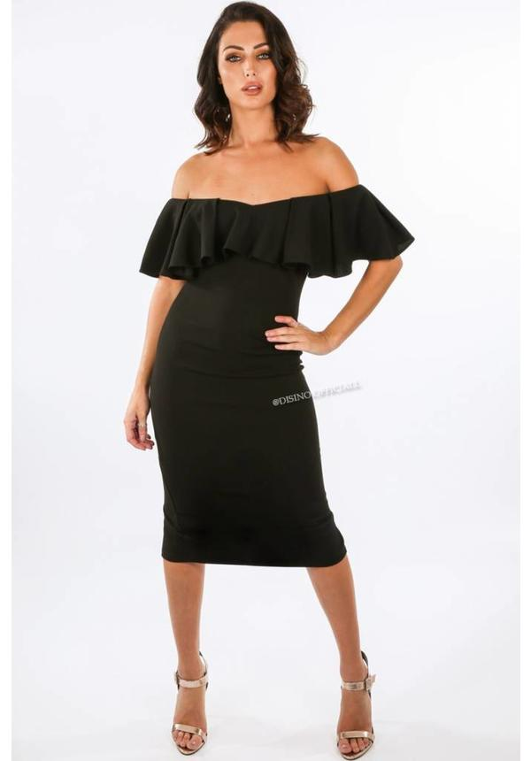 BLACK - 'JAMIE' OFF SHOULDER MIDI DRESS