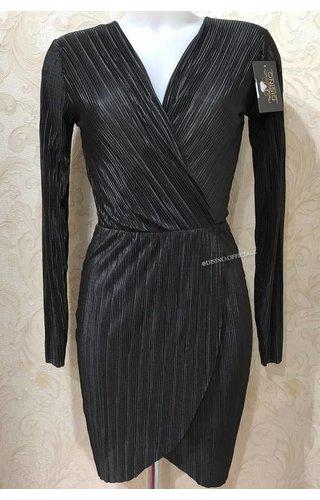 BLACK - 'MEGAN' PLISSE WRAP DRESS