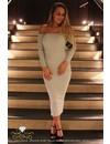SILVER - 'DELILAH' GLITTER RIBBED BARDOT DRESS