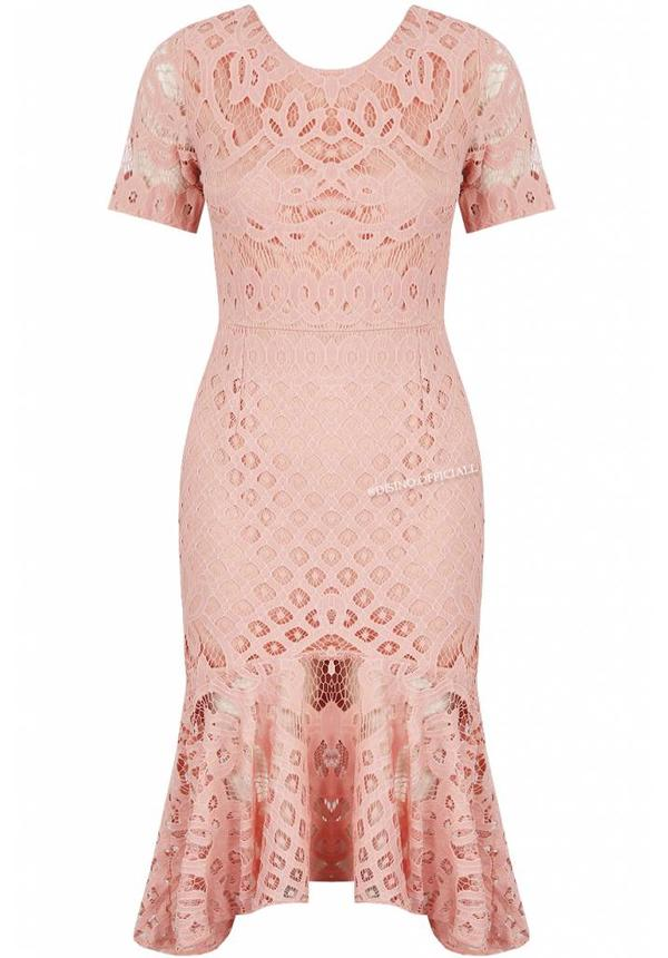 PINK - 'MELODY' SHORT SLEEVE LACE MERMAID DRESS