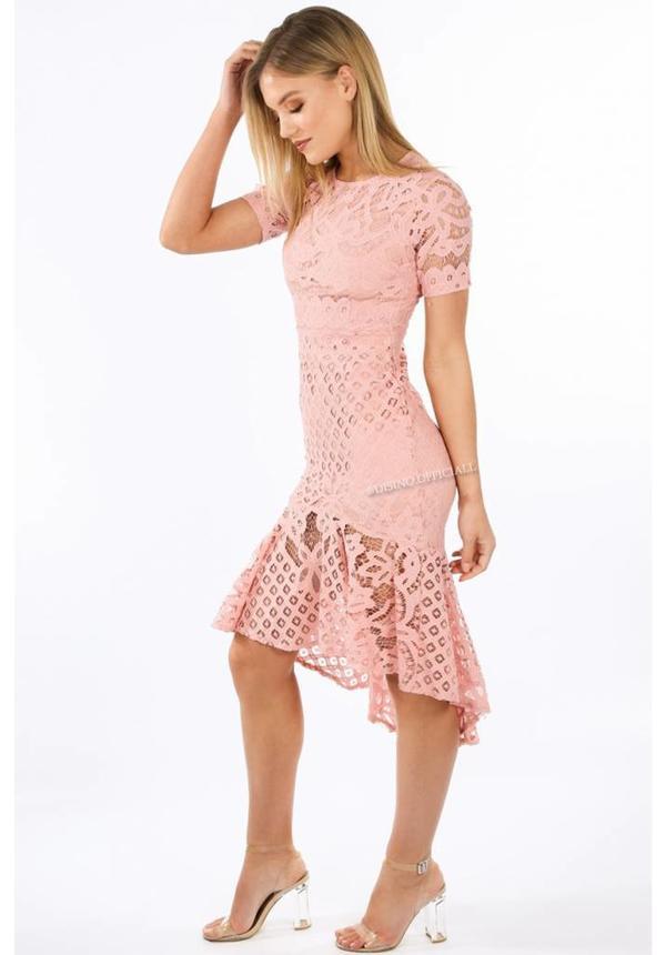 PINK - 'MELODY' SHORT SLEEVE LACE MERMAID DRESS