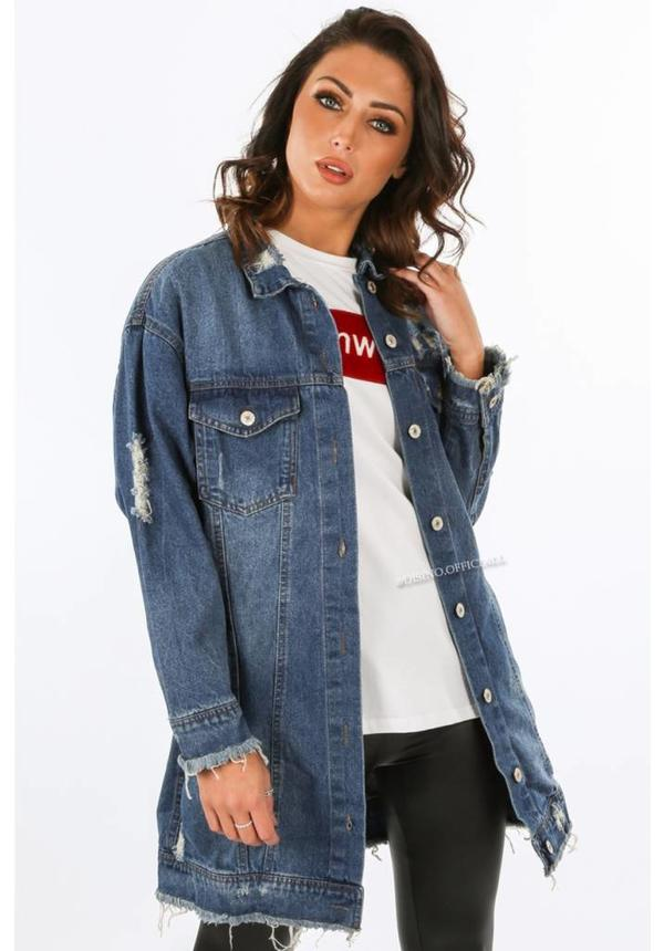 MEDIUM BLUE - 'KELLY' - OVERSIZED RIPPED DENIM JACK