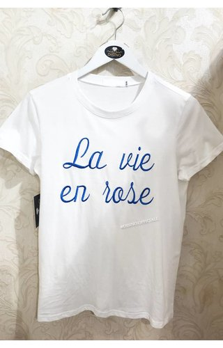WHITE - BLUE LA VIE EN ROSE TEE