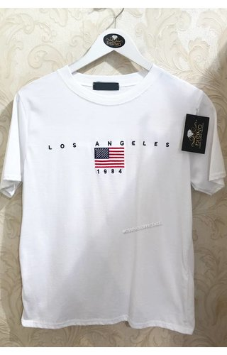 WHITE - LOS ANGELES FLAG TEE
