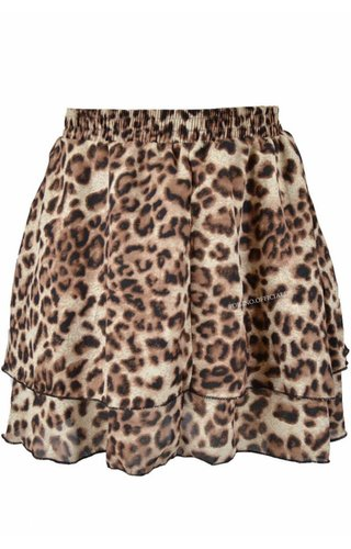 LEOPARD LAYERED RUFFLE MINI SKIRT