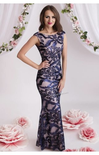 NAVY - 'CAITLIN' SPARKLING LEAVES MAXI DRESS