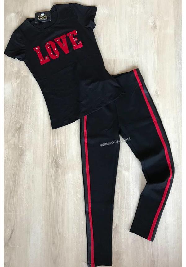 BLACK - LOVE STUDS - BASIC TEE