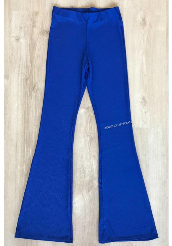 ROYAL BLUE - RIBBED FLARED PANTS