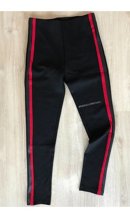 RED & BLACK LEATHER STRIPED TREGGING PANTS